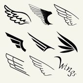 Wings set on white background — Stock Vector