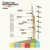 Timeline Infographic with diagrams and graphics — Wektor stockowy