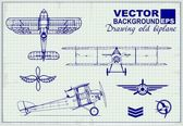 Vintage airplanes drawing on graph paper — Stock Vector