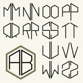 Letters inscribed in a hexagon in Art Nouveau style — Stock Vector