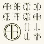 Set of template letters to create monograms — Stok Vektör