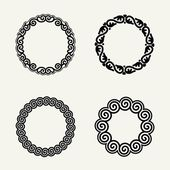 Floral monochrome round monogram design — Stock Vector