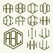 Set of template letters in hexagon — Stockvector