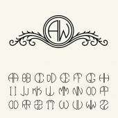 Set of template letters for monograms — Stock Vector