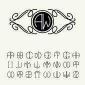 Set of template letters for monograms — Stockvector