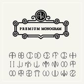 Set of monograms letters — Stock Vector