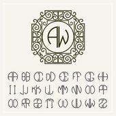 Art letters  for monogram  design — Stock Vector