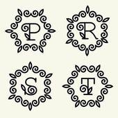 Letters p, r, s, t for monogram design — Stock Vector