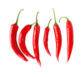 Top view of red peppers isolated white background — Stock Photo