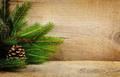 Wooden christmas backgrounds fir spruce cone — Zdjęcie stockowe