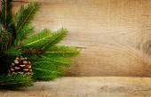 Wooden christmas backgrounds fir spruce cone — Stock fotografie