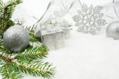 Silver christmas bauble,gifts,snowflake with silver ribbon and n — Stock Photo