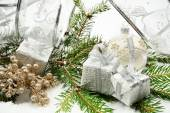 Silver christmas gifts with silver ribbon and needles fir with r — Stock Photo