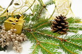 Golden christmas gifts with golden ribbon and needles fir with r — Stock Photo