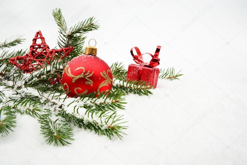 红色的圣诞礼物,sno 红色星和针头杉木的小玩意 — 4