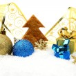Golden and blue christmas decoration on snow with cookie tree — Stock Photo #59989321