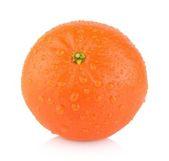 Studio shot wet one,single mandarine isolated on white — Stock Photo