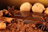 Aromatic set of chocolate,anise and cinnamon on cocoa powder — Stock Photo