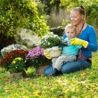 Young woman with a child are planting flowers — Stock Photo #61883853