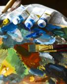 brushes, paints, palette. Drawing set for — Stock Photo