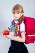 Girl with red apple.  — Stock Photo
