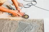 Floor tile installation for house building  — ストック写真
