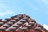 Roof construction with stacks of roof tiles — Foto Stock