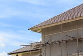 Scaffold support for house building — Stok fotoğraf