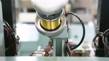 Gold wire roll for Integrate circuit machine — Stock Video