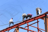 Labor workers in construction site — Stock Photo
