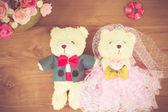 Romantic Bear on vintage retro color tone — Stock Photo