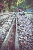 Järnvägen i tågstation — Stockfoto