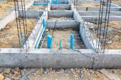 Foundation for house building with plumbing system — Stock Photo