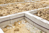 Termite protection system on home foundation — Stock Photo