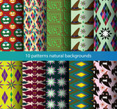 Ten seamless backgrounds patterns color — Stock Vector