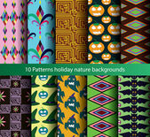 Ten patterns backgrounds color natural — Stock Vector