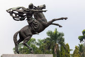 Statue of Prince Diponegoro riding a horse in Jakarta, Indonesia — Stock Photo
