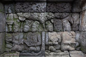 Bas-relief sculptural group at Borobudur on Java — Foto de Stock
