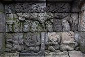 Bas-relief sculptural group at Borobudur on Java — Stock Photo