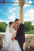 Portrait of young wedding couple — Stock Photo