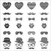 Hipster Vintage Icon with Aztec Pattern Background — Stock Vector