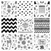 Christmas Doodles Seamless Background Set — Stock Vector