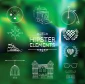 Hand-drawn elements on blurred background. — Stock Vector