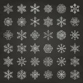 Winter Snow Flakes Doodles — Stock Vector