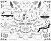 Hand-Drawn Doodle Design Elements — Stock Vector