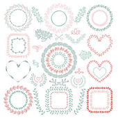 Hand-Drawn Floral Frames — Stock Vector