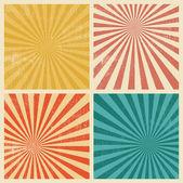 Sunburst Retro Textured Grunge Background Set — Stock Vector