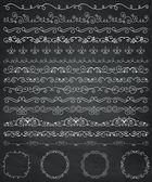 Tebeşir çizim sınırları ve çerçeveler, bölücüler, Swirls — Stok Vektör