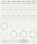 Hand Sketched Borders and Frames, Dividers, Swirls — Stock Vector