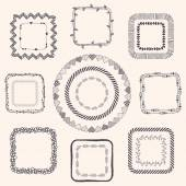 Handsketched Doodle Frames. Design Elements — Stock Vector